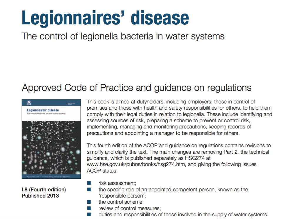 Legionnaires' disease The control of legionella bacteria in water systems supporting image