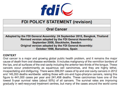 FDI statement on Oral Cancer supporting image
