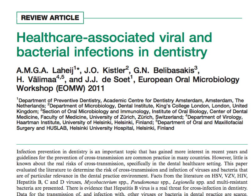Healthcare-associated viral and bacterial infections in dentistry supporting image