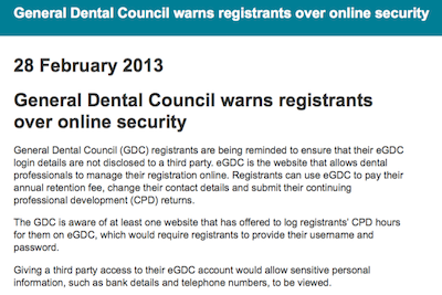 General Dental Council warns registrants over online security supporting image