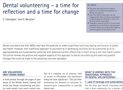 Dental volunteering – a time for re ection and a time for change supporting image