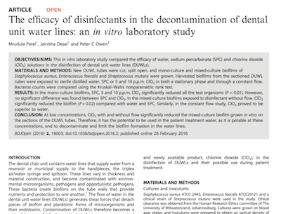 The efficacy of disinfectants in the decontamination of dental unit water lines supporting image